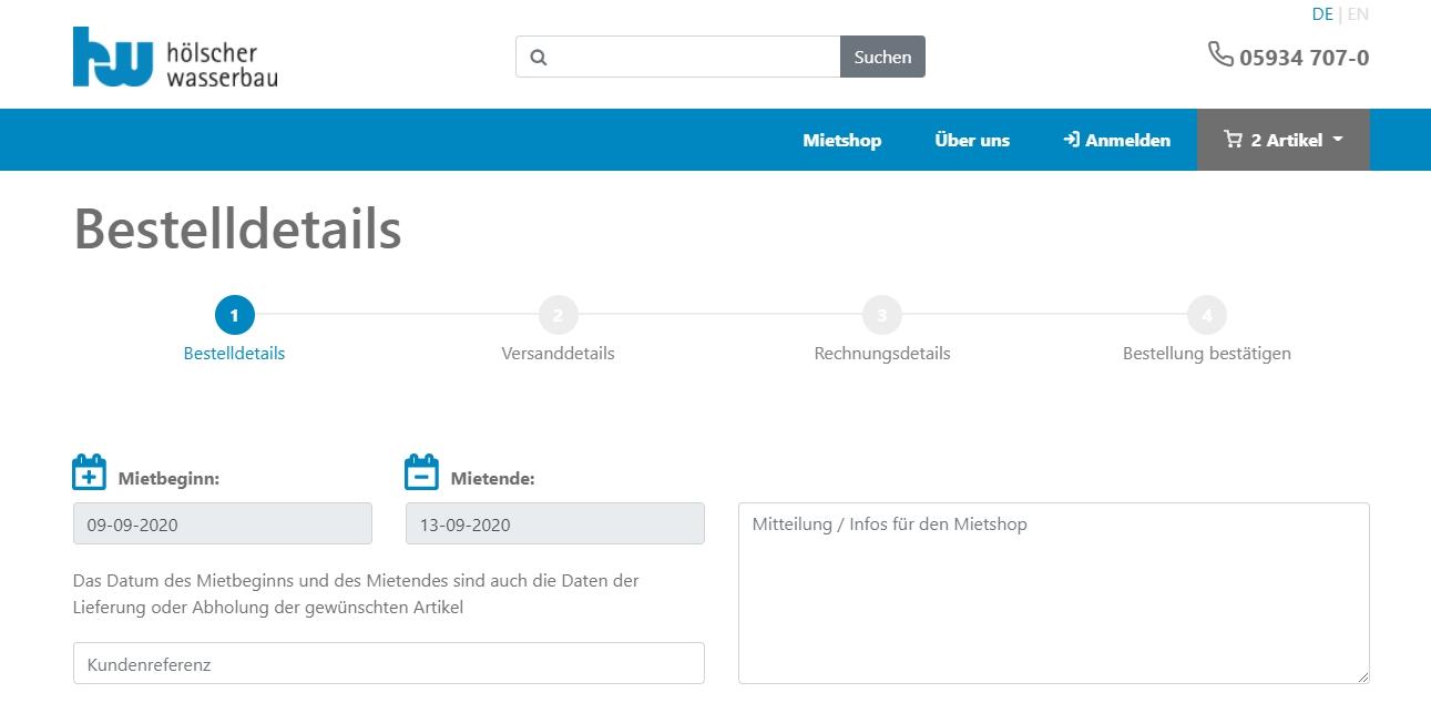 Mietshop Hölscher Wasserbau Relaunch durch die Scitotec GmbH